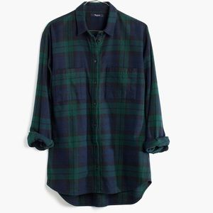 Madewell Flannel Button DownShirt Blue Green Plaid